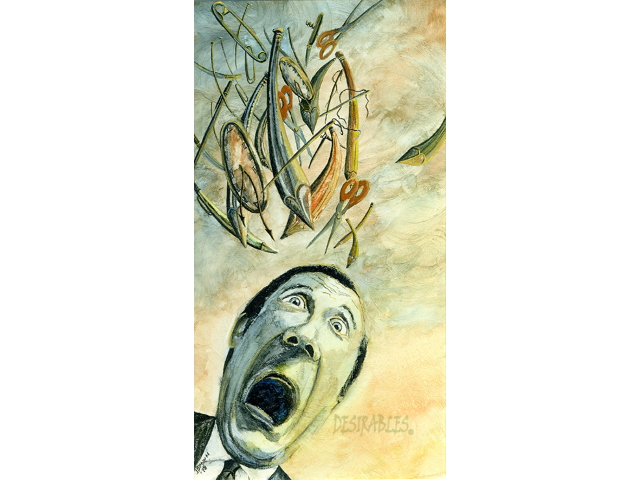 Aichmophobia (Fear of Pointed Objects) - Watercolor on Board - 11x16 - $125