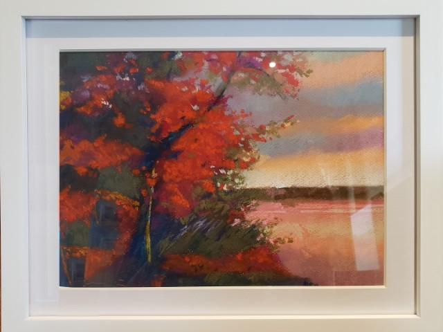 Fire Red Trees by Waterside - 9×12 - Soft Pastel $150