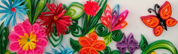 Paper Quilling Butterfly Garden